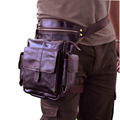 New Top Quality Genuine Real Leather men vintage Brown Small Belt Bag Waist Pack Drop Leg Bag