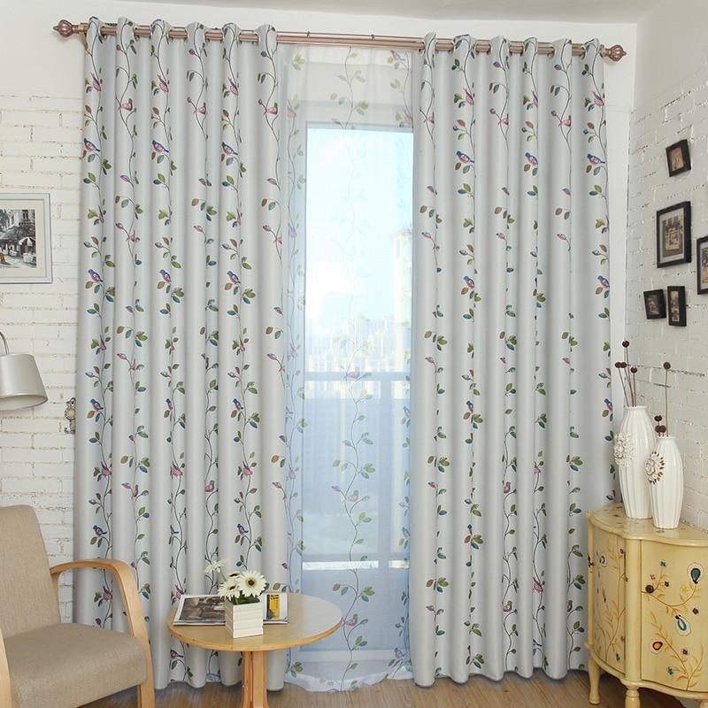 Kuşlar ve Yapraklar Karartma Perdeleri Oturma Odası Yatak Odası Ev - Ev Tekstili - Fotoğraf 2