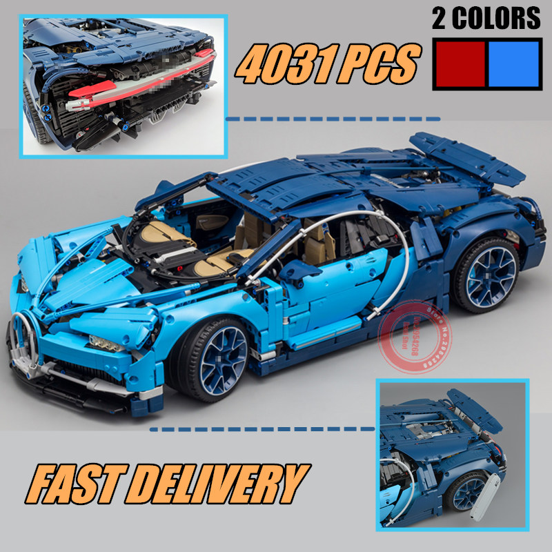 New 4031PCS Technic series Model red blue car fit technic city Racing Car Building Block Brick
