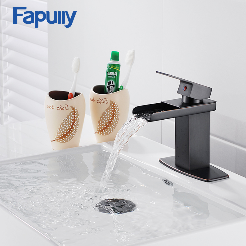 Fapully Black Basin Faucets Waterfall Faucet Oil Rubbed Bronze Square Bathroom Sink Waterfall Basin Mixer Tap Torneira Cachoeir square bathroom sink faucet tall waterfall bathroom basin sink mixer tap oil rubble bronze black faucets