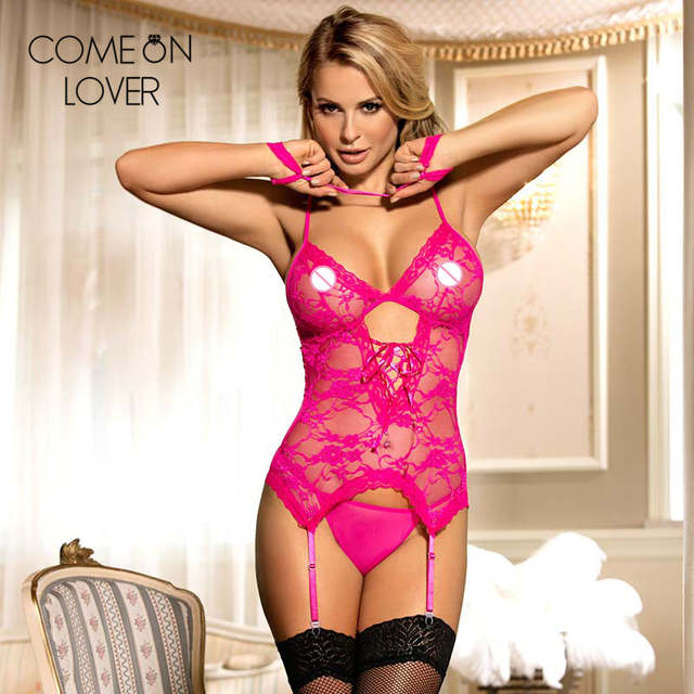 c3e742412 placeholder Comeonlover Lace porn lingerie plus size babydoll with handcuffs  sexy teddy disfraz erotico mujer RE7600 women