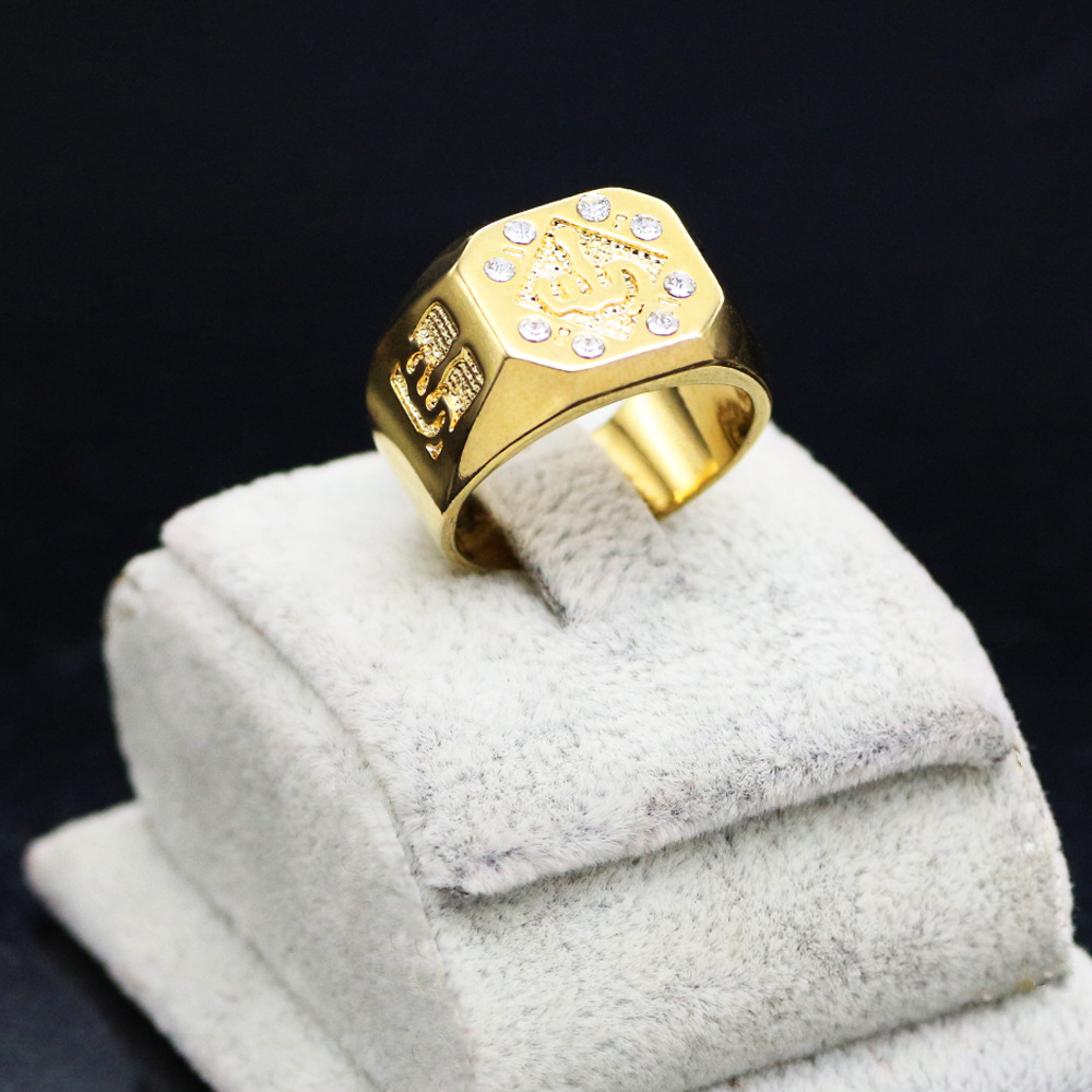 Fashion Hollow Out Gold Color Crystal Muslim Allah Islam Ring Arabic ...