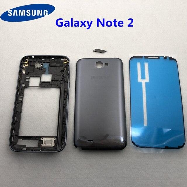 Pour Samsung Galaxy Note 2 II N7100 N7105 boîtier complet couvercle de batterie cadre moyen note2 SM N7100 7100 couverture arrière
