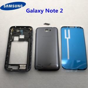 Image 1 - Samsung Galaxy Not 2 II için N7100 N7105 Tam Konut Case Pil Kapağı Orta Çerçeve note2 SM N7100 7100 arka kapak