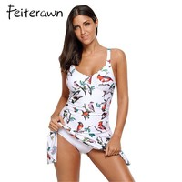 Feiterawn Women 2017 Plus Size Swimwear One Piece Swimdress Vintage Print Halter Swimsuit LC410303 Maillot De