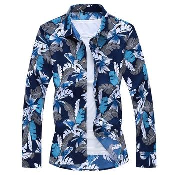 Men Hawaiian Shirt Long Sleeve Floral Print Mens Dress Formal Shirts Camisa Social Masculina Men Casual Slim Fit Tops Shirt 7XL 2018 spring cotton dress shirts for men good quality long sleeve camisa social masculina hawaiian shirt