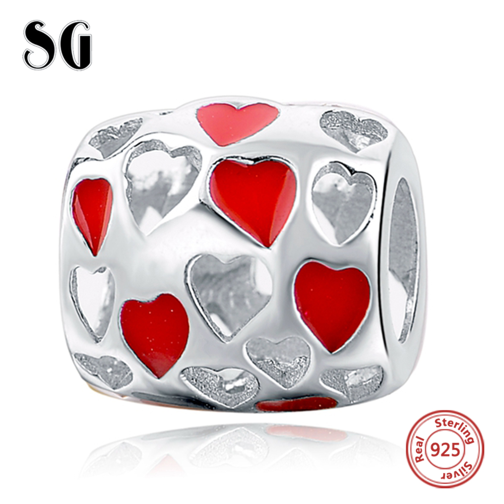 Silver Galaxy Hollow Red Love Heart Fit Authentic Pandora Charm Bracelet Sterling Silver 925 Original Beads For Women Jewelry