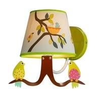 Cute Birds Fabric Children Room Wall Lamp Kids Study Room Cartoon Wall Lights Boy Girl Tree Branch Painting Room Wall Light