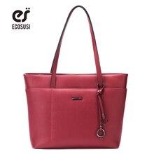 ECOSUSI New Casual Tote Bags Women PU Leather Handbags Fashion Women Messenger Bags With Tassel Crossbody Bags Female Bolsa