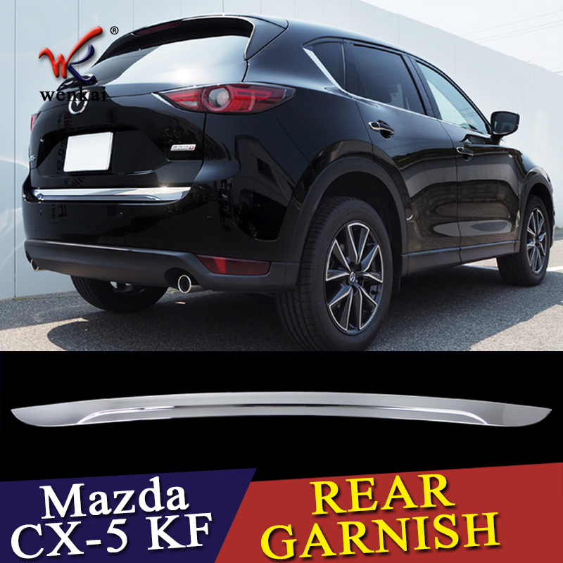 WENKAI 1pc ABS Chrome Accessories Trunk Lid Cover Trim Rear Garnish For Mazda CX5 CX-5 KF SERIES 2017 2018 Car Styling for mazda cx 5 cx5 2017 2018 kf car rear door trunk box trim sticker chrome garnish strips protective decoration car styling