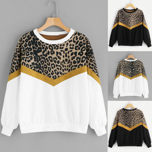 Women Sweatshirts Fashion Womens Casual Long Sleeve Patchwork Leopard Print O-Neck Tops Sweatshirt  Sudadera Mujer Pullover цена и фото
