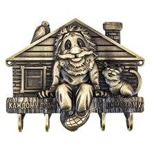 Imitación antigua artesanía y arte de pared de metal percha clave gancho de percha para la ropa para la bolsa de accesorios de decoración del hogar de gato