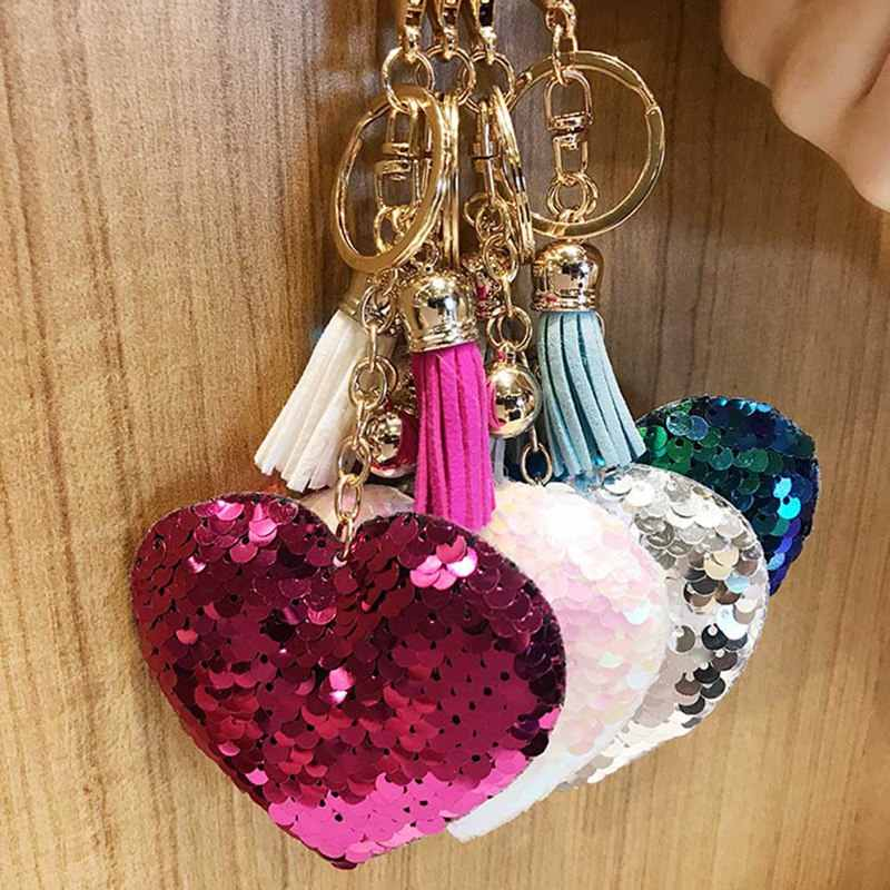 New Glitter Bling Bling Keychains Leather Tassel Sequins Love Heart Pendants Keyring Women Girls Charm Bag Car Accessories