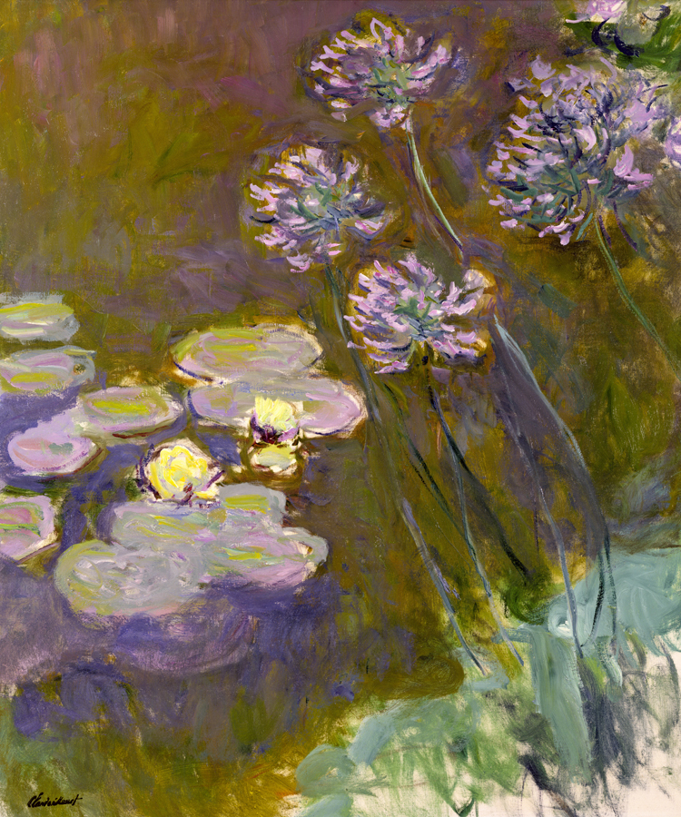 Flower framesless canvas painting masterpiece reproduction Claude Monet Water Lilies and Agapanthus, 1914-17