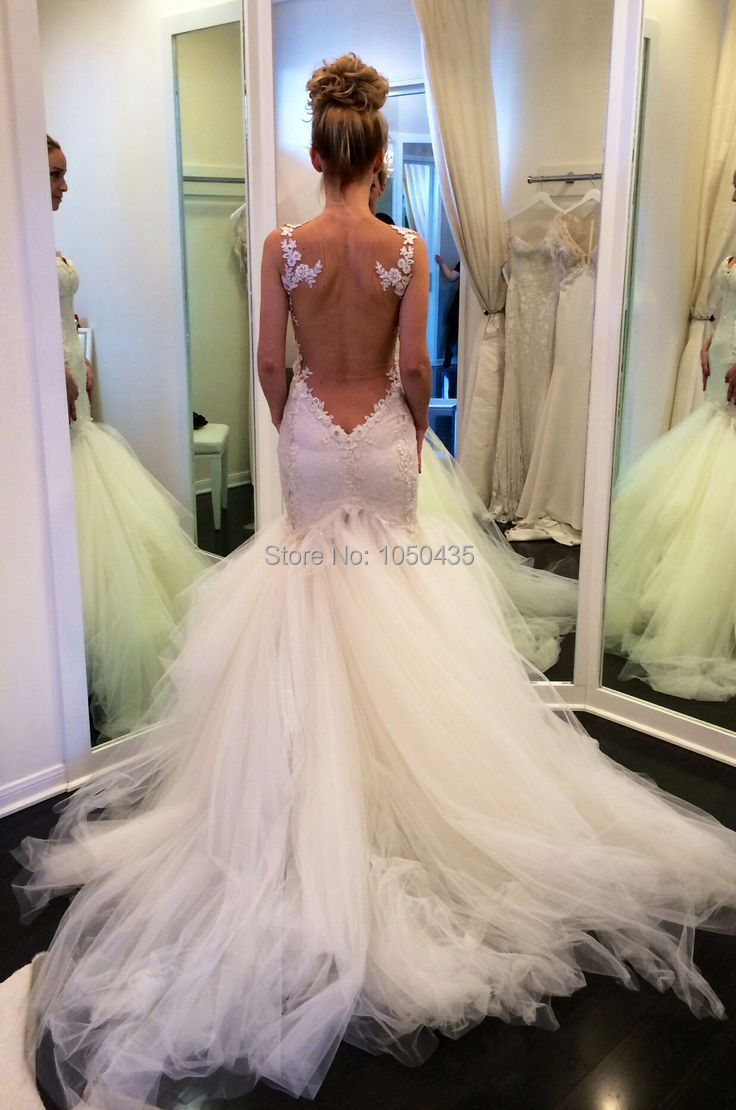 100 Low Back Wedding Dresses Oumeiya Ow509 Sheer Tulle