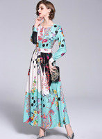 Women Runway Dresses Designer Summer Autumn Lange Jurken Floral Polka Dots Robe Longue Femme Ete 2018 Long Sleeve Maxi Dress