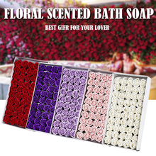 50Pcs Floral Scented Bath Soap Rose Flower Petals Plant Essential Oil Rose Soap Set Bath Soap Shaped Petals Wedding Party Gift heart shaped rose soap flower with plush animal toys teddy bear doll romantic wedding party flower petals decor valentine gift