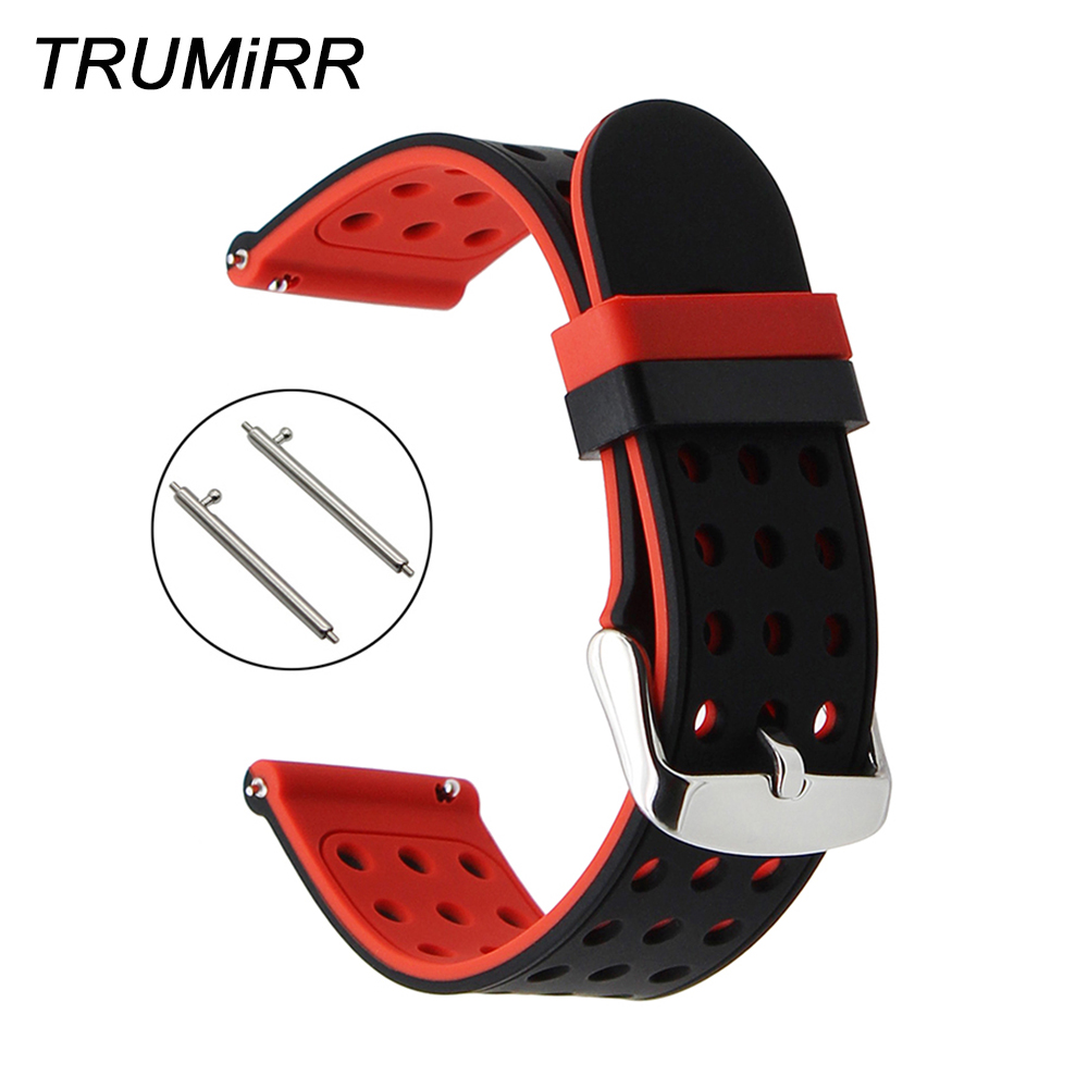 Quick Release Silicone Rubber Watchband 22mm for Samsung Gear S3 Galaxy Watch 46mm Band Sports Wrist Strap Steel Buckle Bracelet silicone rubber watch band 21mm 22mm for timex weekender expedition quick release strap stainless steel buckle wrist bracelet