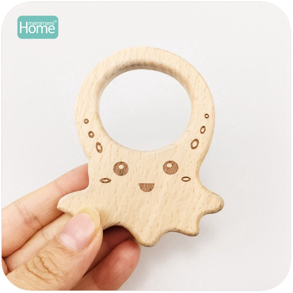 MamimamiHome Baby Educational Toys 20pc Beech Wood Printed Octopus Dolls Toys For Children Teething Jewelry Baby Wooden Rattles