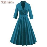 Plus Size Winter 50s Rockabilly Dress 3 4 Sleeve Jacket Audrey Hepburn Style Midi Vestidos Women