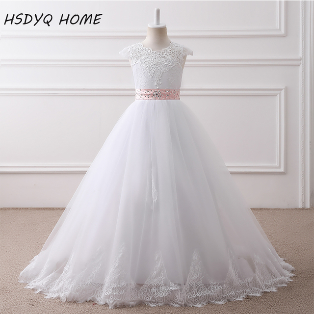 HSDYQ HOME  Free shipping real photo Ball Gown Long Flower Girl Dresses Princess White Tulle Lace Girls Dresses 2017 In Stock