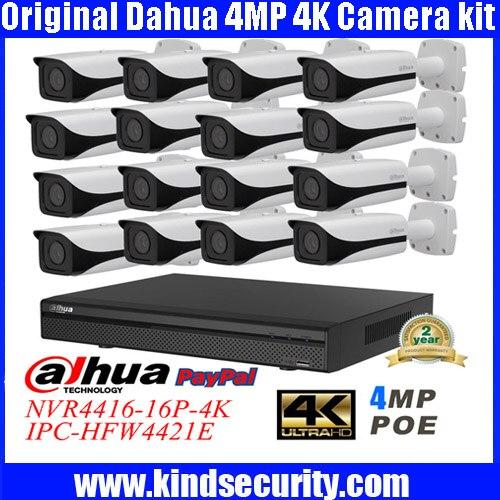 DAHUA 4K NVR4416 16P 4K IP Camera system Network video recorder DAHUA IPC HFW4421E 4MP HD