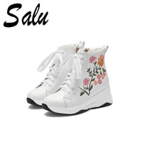 Salu Top Quality Boots Women Ankle Boots Wedges High Heeled Autumn Winter Party Shoes Woman Lace up Casual Shoes