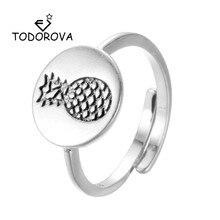 Todorova Vintage redondo tallado anillos con forma de piña fruta divertida Simple anillos Ananas ajustables anillos de boda para mujeres