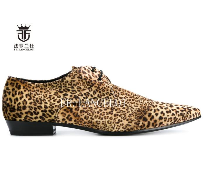 New design FR.LANCELOT real   leather   shoe leopard print cow   suede   men casual shoes lace up flats fashion brand pointed toe shoes