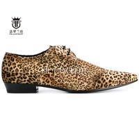 New Design FR LANCELOT Real Leather Shoe Leopard Print Cow Suede Men Casual Shoes Lace Up