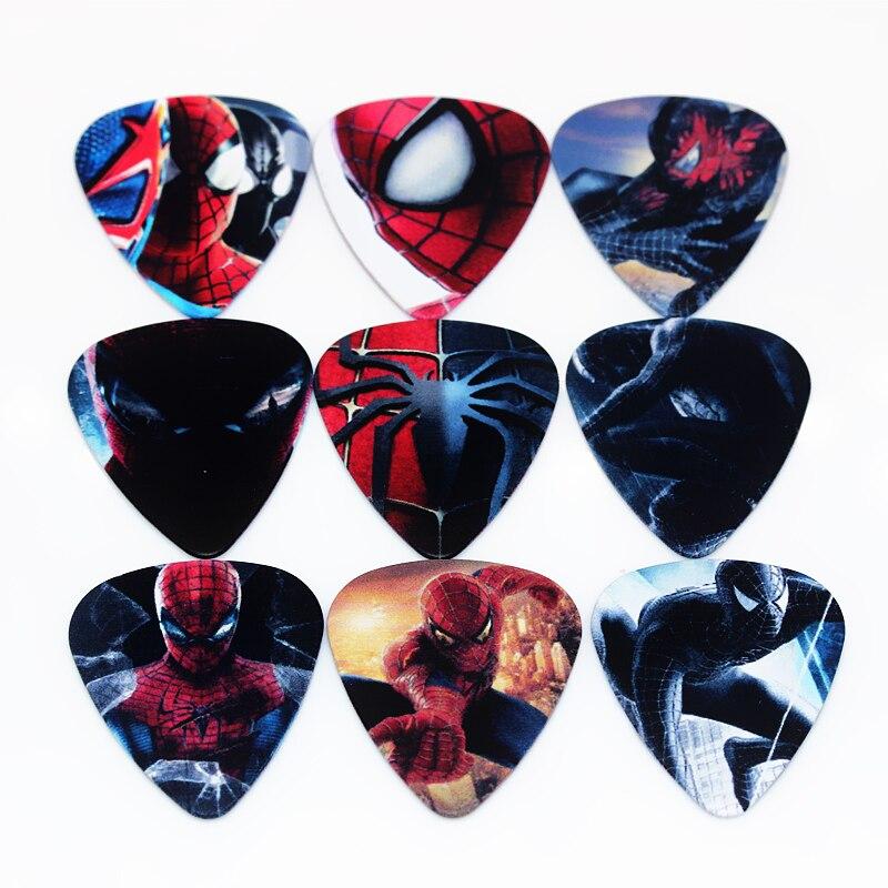 Zonael 10pcs1.00mm Two Side Earrings Pick DIY Design Guitar Accessories Pick Guitar Picks Spider-Man Guitar Strings 2T2-6
