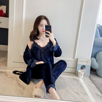 NEW Velour Robe Sleepwear Sets 2019 Spring Womens 3 Pieces Strap Top Pants Suit Casual Pajamas Sexy Nightwear Kimono Bath Gown