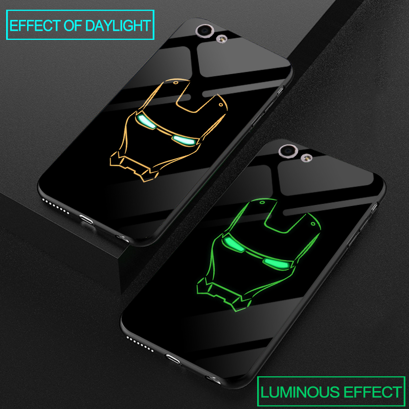 Galleria fotografica Luxury Luminous Tempered Glass Cases For OPPO F1S F3 F5 Soft Silicone Cover For OPPO A39 A57 A59 A77 A73 A79 A83 Superman Case