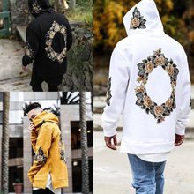 Men Hoodies Pullovers Autumn Spring New Print Flower Hip Hop Man Hooded Male Streetwear Casual Fashion Hoody Jacket
