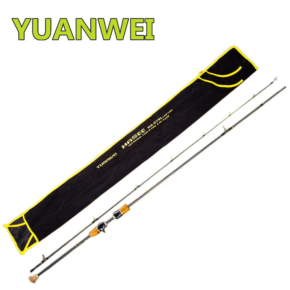 YUANWEI Baitcasting Fishing Rod 2Sec 1.8m 2.1m ML/M/MH FUJI Ring Carbon Bait Casting Lure Rods Vara De Pesca Olta Fishing Stick noeby carbon spinning fishing rod 2 section1 98m 2 13m 2 44m m ml fuji a guide ring fuji reel seat vara de pesca olta lure rods