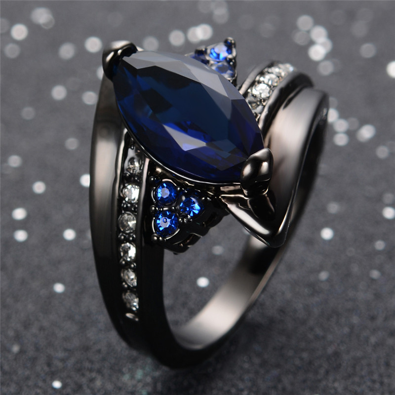 Blue Ring For Women Men Cool Jewelry Black Gold Filled Zircon Crystal Ring Wedding Jewelry Gift Bague Femme RB0405