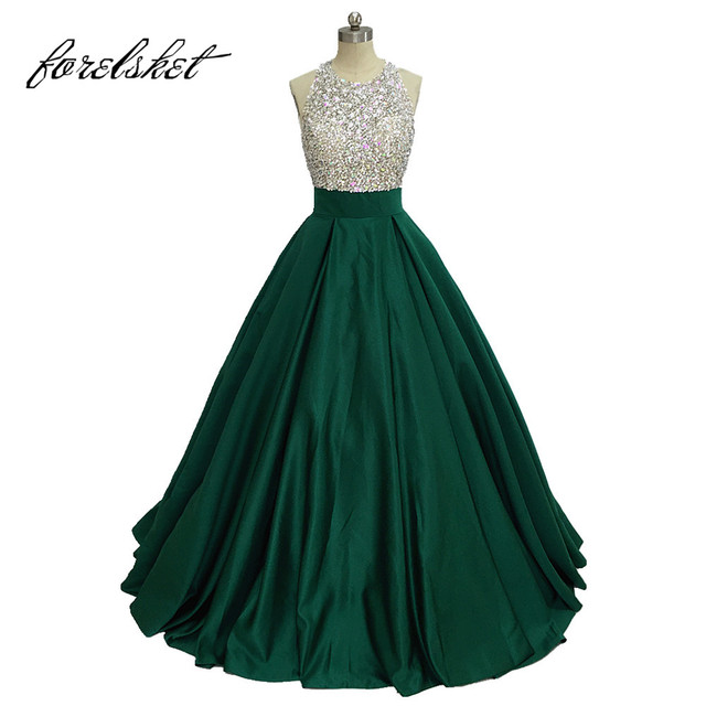 Green Color Evening Dresses With Crystal Ball Gown 2019 Real Photo Formal  Evening Gowns Satin Prom f44b9d71726d