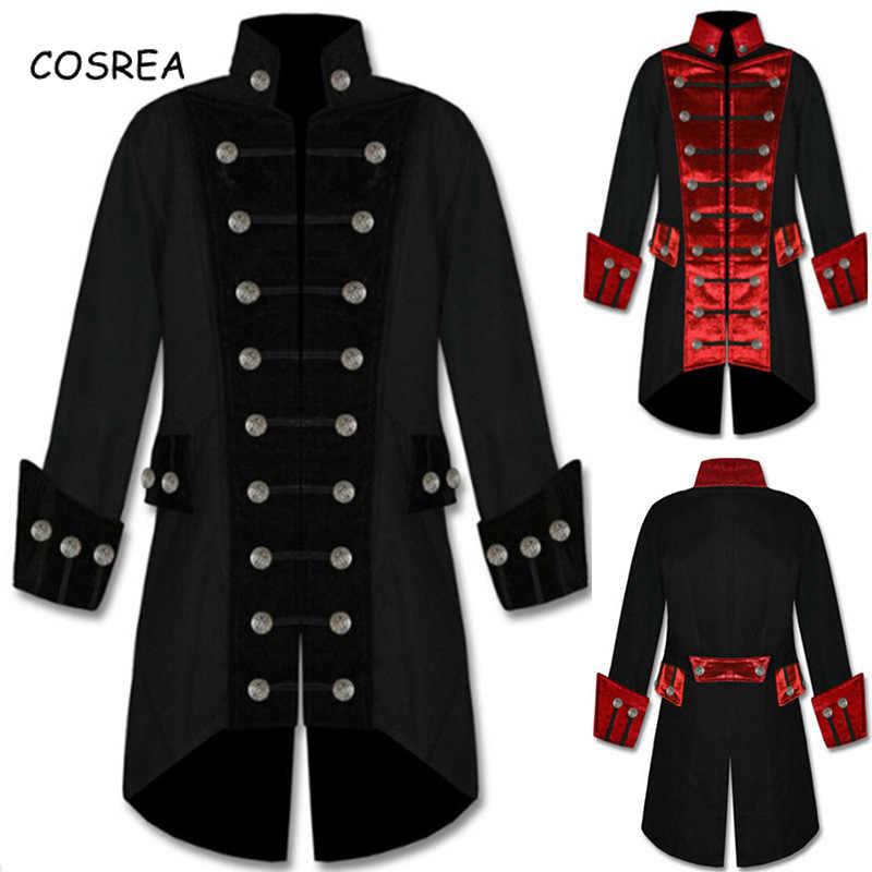 Викторианский период костюмы верхнее пальто Тренч смокинг мужской фрак длинная куртка стимпанк платье Готическая униформа