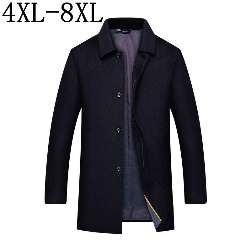 زائد حجم 10XL 8XL 6XL 2018 جديد الأعمال عارضة طويلة الصوف معطف الرجال رجل واحد الصدر معطف أعلى جودة الذكور سترة-في صوف مختلط من ملابس الرجال على  مجموعة 1