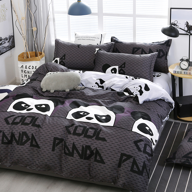 A15 Chinese Style Cartoon Panda Pattern Bedding Set Bed Linings Duvet Cover Bed Sheet Pillowcases Cover Set 4pcs/set(China)