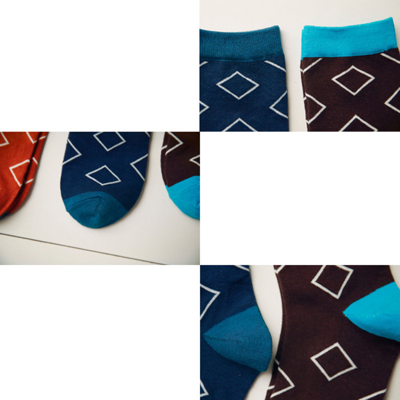 5pairs Mens Socks Happy Funny Hit Color Lozenge Plaid Pattern Trendy Brand Man Long Socks Spring Autumn Sock Male Meias Sox Crew