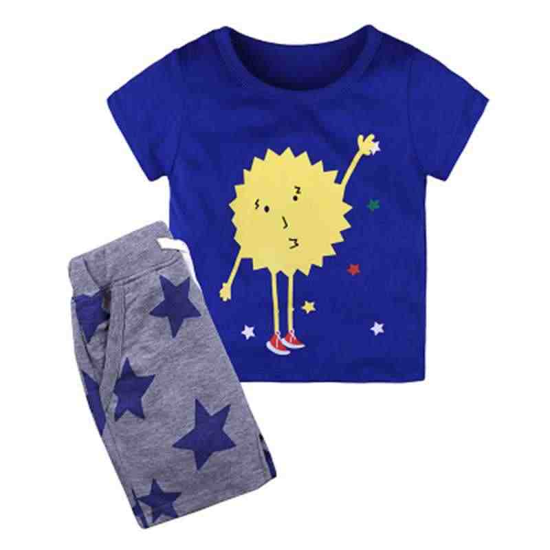 b02e1e7906a65 1 2 3 4 5 6 Years Boys Suits 2018 New Cartoon Summer Boys Clothes T-shirts  Shorts Children Clothing Set Cotton Kids Outfits