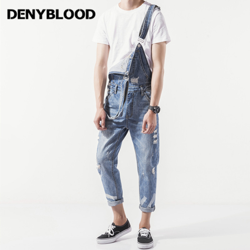Denyblood Jeans Mens Distressed Jeans Ripped Slim Jeans Denim Bib Overalls Fashion Hole Vintage Washed Jumpsuits For Men K8188  new 2016 fashion brand women washed denim casual hole romper jumpsuit overalls jeans macacao feminino vintage ripped jeans