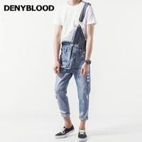 Denyblood Jeans Mens Distressed Jeans Ripped Slim Jeans Denim Bib Overalls Fashion Hole Vintage Washed Jumpsuits