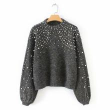 Winter Round Neck Sweaters Pearl Beading Sweater Warm Women Jumper Female Loose Gray Pullover Pull Knitted brown cross straps front round neck slit hem knitted jumper