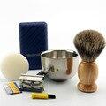 ZY Shaving Kit Vintage Safety Razor Mug Bowl Best Badger Brush Custom Made Soap