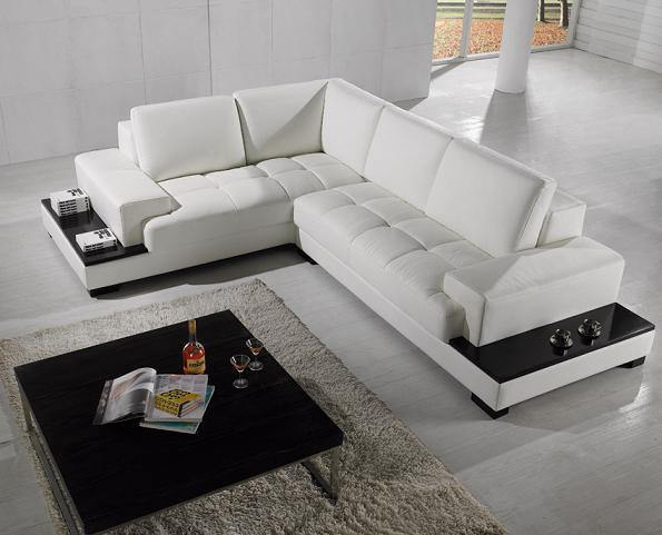 Moderno divano ad angolo in pelle trasporto libero con libreria in ...