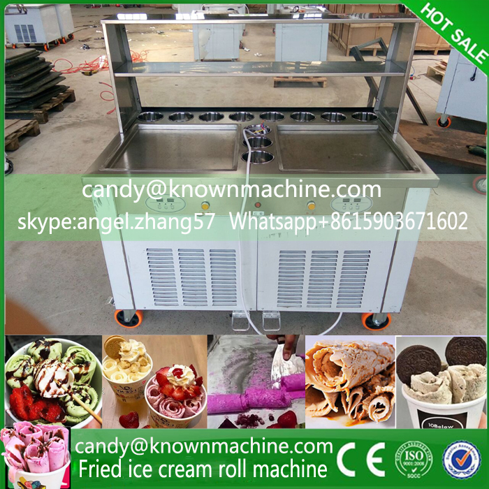 220V free shipping by sea double pan frying icecream maker with 11 tanks ...
