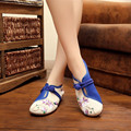 2016 Women's Flat Heel Shoes Ladies Old Peking blue and white porcelain Embroidery Soft Sole Casual Shoes Dancing Shoes
