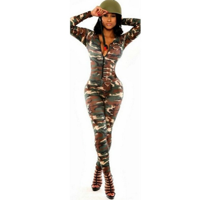 Camuflagem Mulheres Bodysuit Romper Jumpsuit Romper Aptidão Fino Ser Elástico Bodysuit Macacões Big Size Rompers Jumpsuit Womens